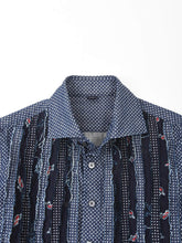 Unisex Cotton Denim Print Mix Frill Shirt