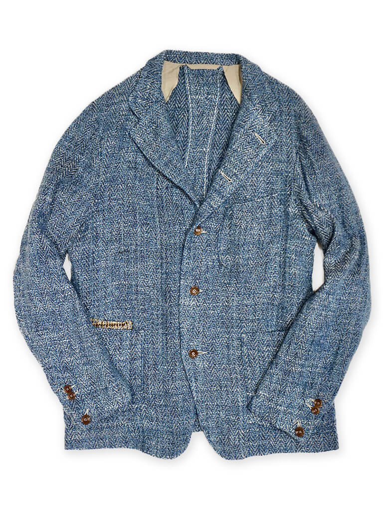 Linen Tweed Jacket in Herringbone