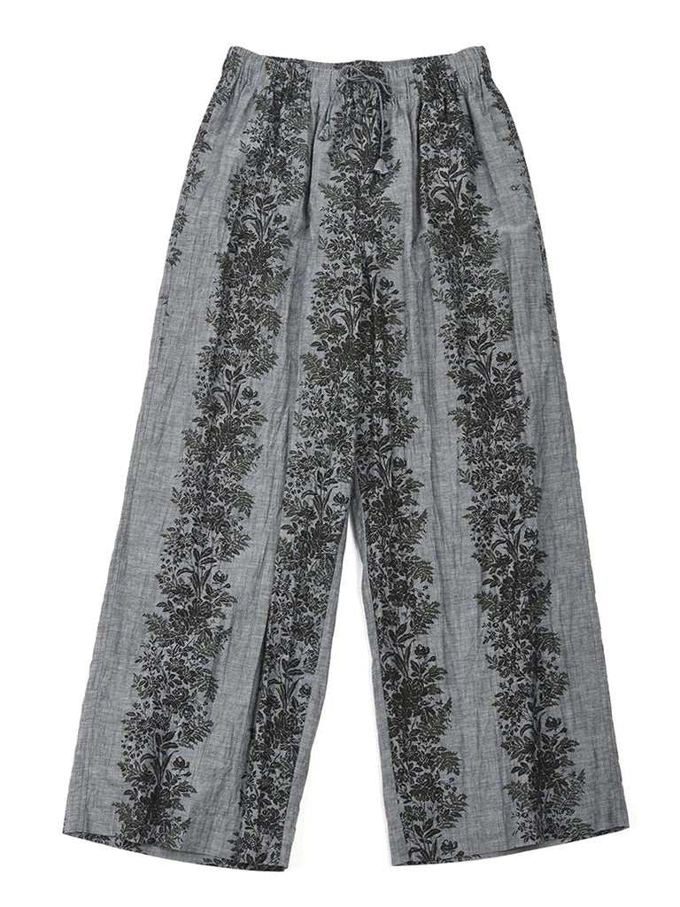 Dungaree Print Easy Easy Wide Pants in Green