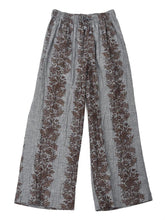 Dungaree Print Easy Easy Wide Pants in Brown
