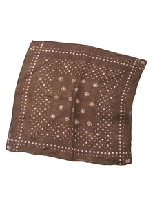 Linen Komon print Discharge Bandanna in Brown Dot