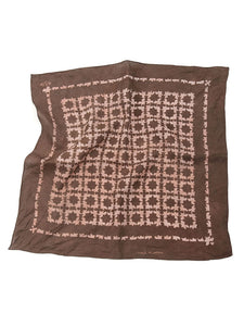 Linen Komon print Discharge Bandanna in Brown Flower