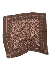 Linen Komon print Discharge Bandanna in Brown Komon