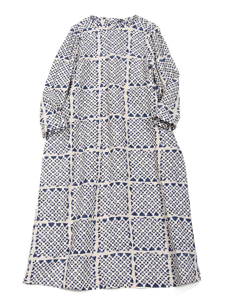 Linen Print Dress in #74 Check Print