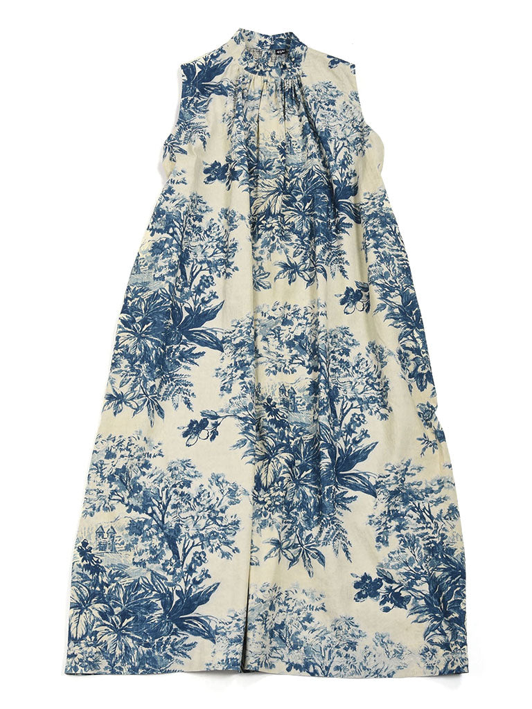 Indigo Spring Hill Print Dress in Indigo Discharge Color
