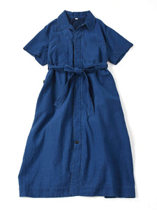Cotton Satin Dress Distress in indigo