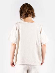 Women's Cotton Linen White Denim Short Sleeve Big T-shirt