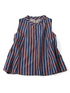 Cotton Linen Goma Denim Sleeveless Top in  tricolor hickory