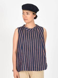 Cotton Linen Goma Denim Sleeveless Top