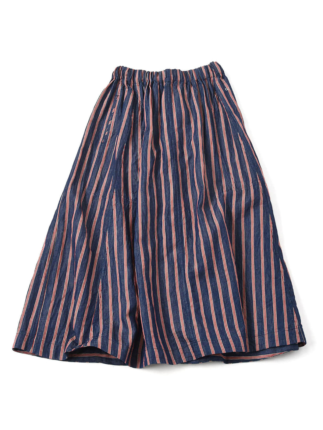 Cotton Linen Goma Denim Skirt in tricolor hickory