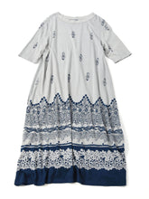 Indigo Discharge Jersey Cotton Dress in indigo base