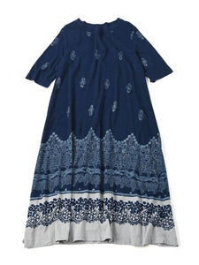 Indigo Discharge Jersey Cotton Dress in indigo