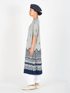 Indigo Discharge Jersey Cotton Dress