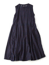 Indigo Double Woven Dot Print Sleeveless Dress in indigo