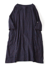 Indigo Double Woven Small Dot Print 3/4 Sleeve Umahiko Dress in indigo