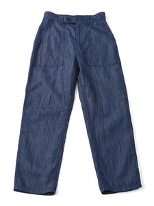 Cotton Linen Goma Denim 908 Baker Pants in biaude