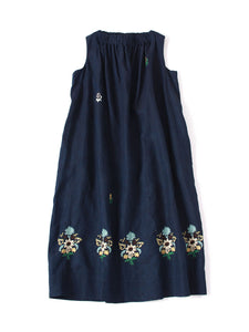 Indigo Linen Embroidery Dress