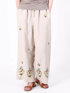 Linen Embroidery Pants