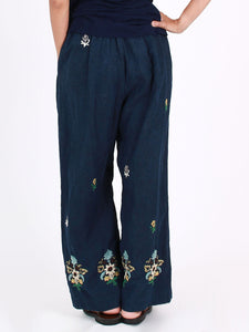 Indigo Linen Embroidery Pants
