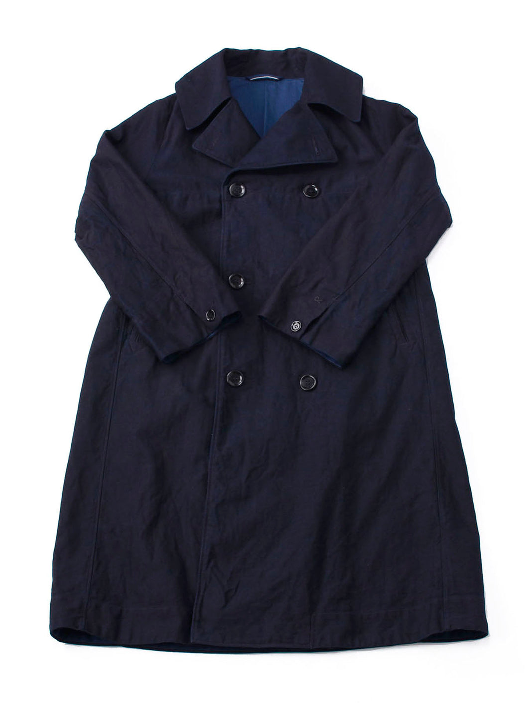 Ai Nando Mugi Satin Cotton Akiya Coat in ai indigo