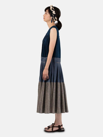 Indigo Pleats Dress