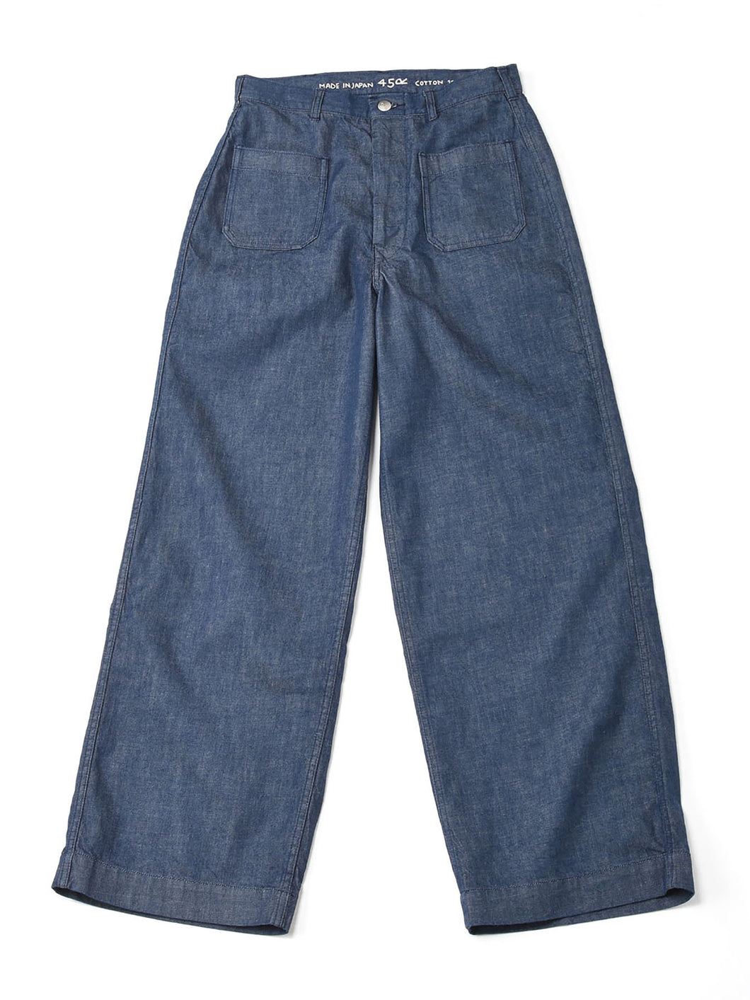 Mugi Cotton Denim 4 Pocket One Wash Pants in indigo