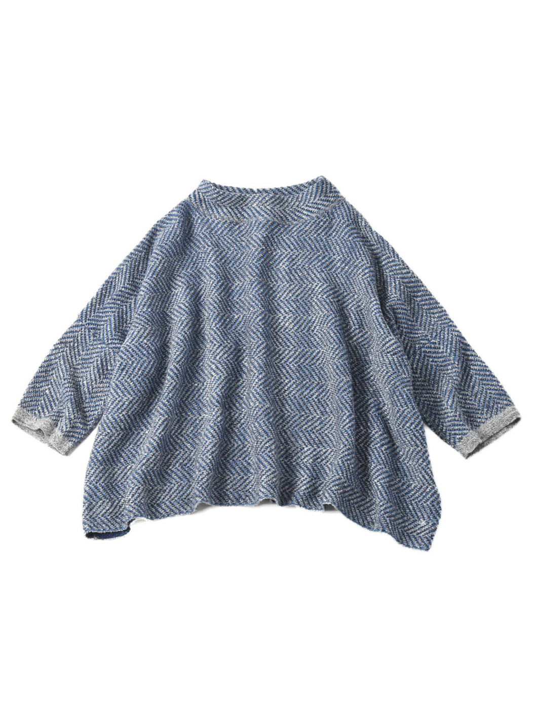 Indigo Cotton Herringbone Jacquard Big T-shirt in indigo