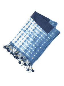 Ai Dyed Cotton Patchwork Stole in ai indigo