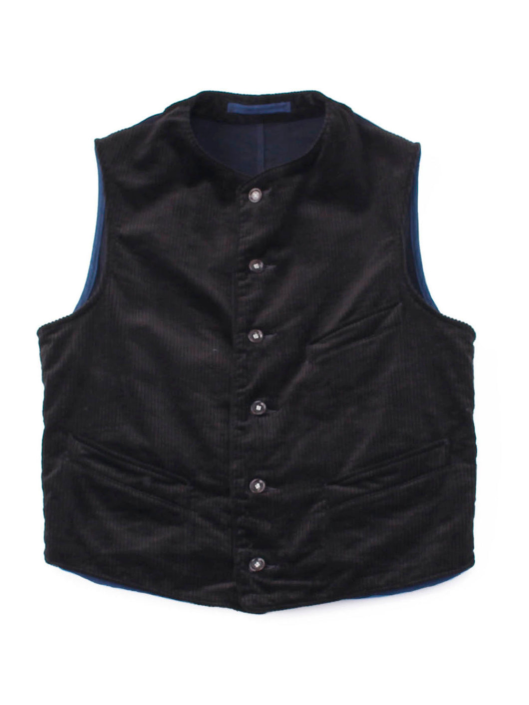 Corduroy x Mugi Satin Cotton 908 Vest in black and indigo