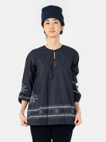 Indigo Tapet Coating Blouse