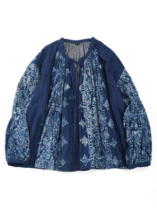 Indigo Double Woven Discharge Print Gather Blouse in Distressed Indigo