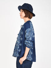 Indigo Double Woven Discharge Print Gather Blouse