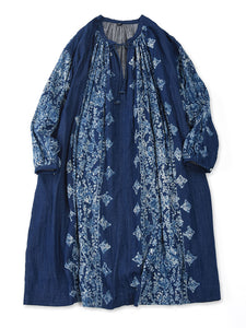 Indigo Double Woven Discharge Print Gather Dress in Indigo