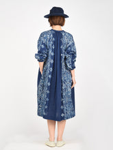 Indigo Double Woven Discharge Print Gather Dress