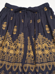 Indigo Doama Cotton Plain Weave Embroidery Skirt