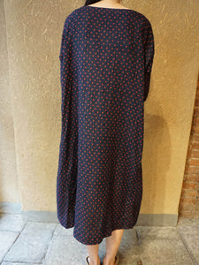 Indigo Double Woven Small Dot Print 3/4 Sleeve Umahiko Dress