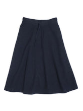 Jersey Flannel Wool Cotton Skirt in navy