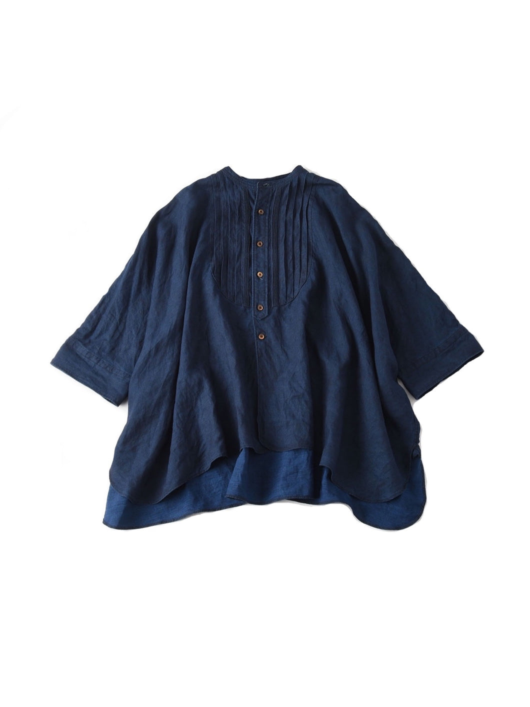 Linen Pintuck Big T-Shirt in indigo