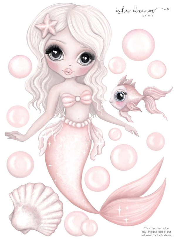 'Jewel The mermaid' Fabric Wall Decals A4 & A3 - Isla Dream Prints