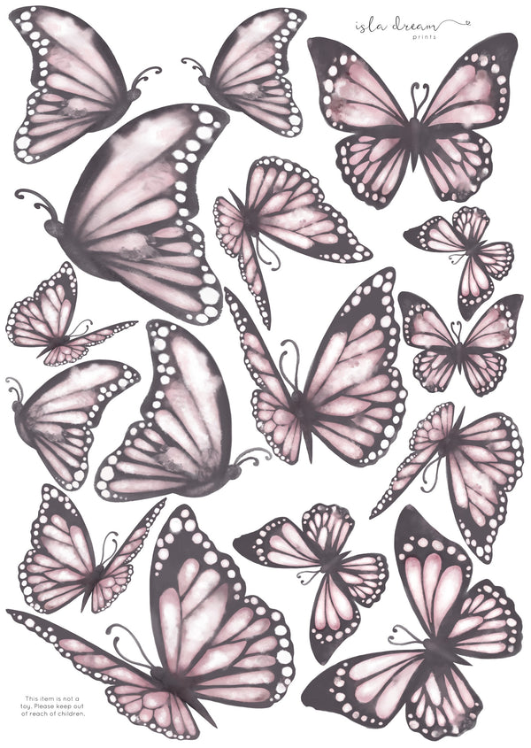 Butterflies 'the originals.' Fabric Wall Decals A3 - Isla Dream Prints