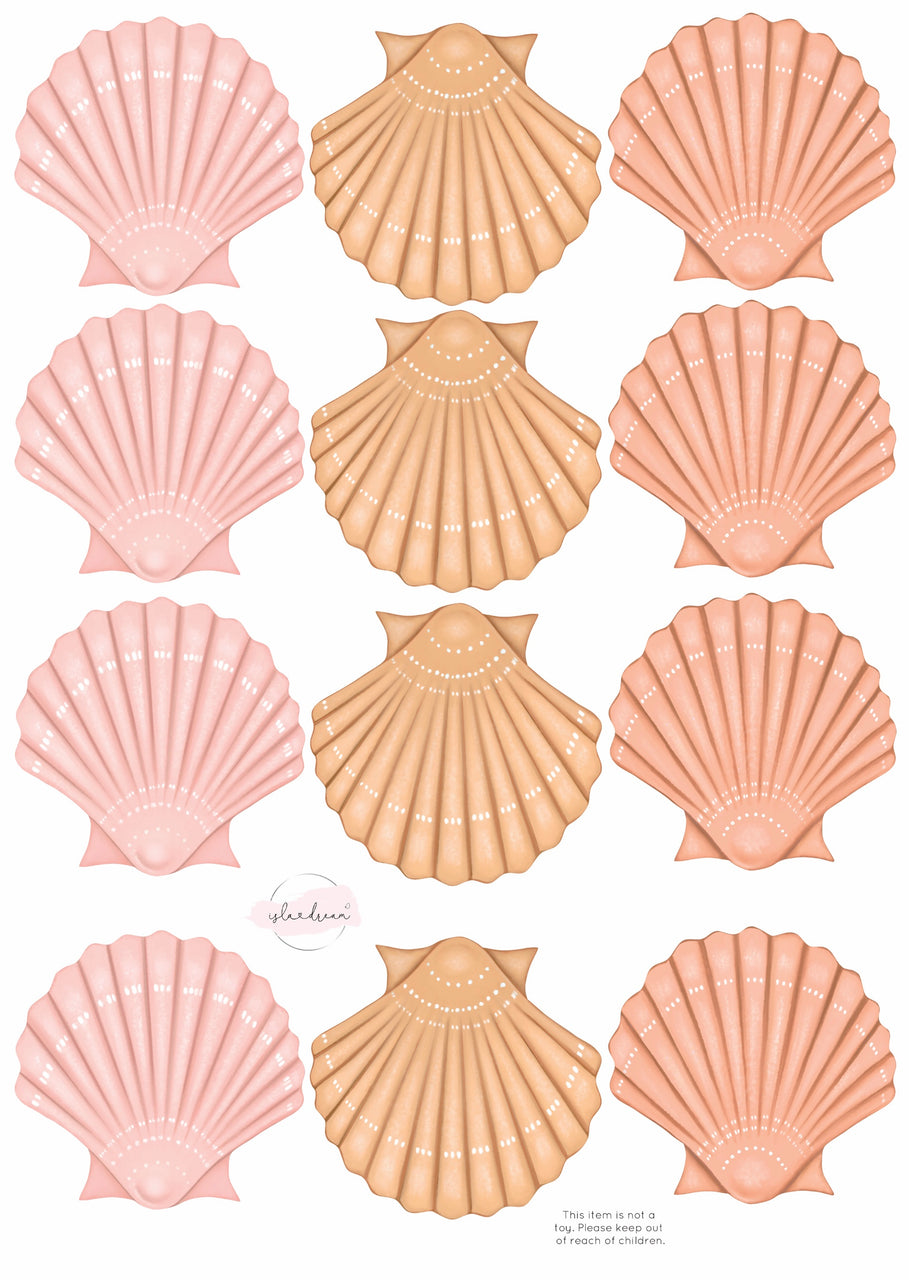 Sea Shell- Fabric Wall Decals A3 (multiple colours) - Isla Dream Prints