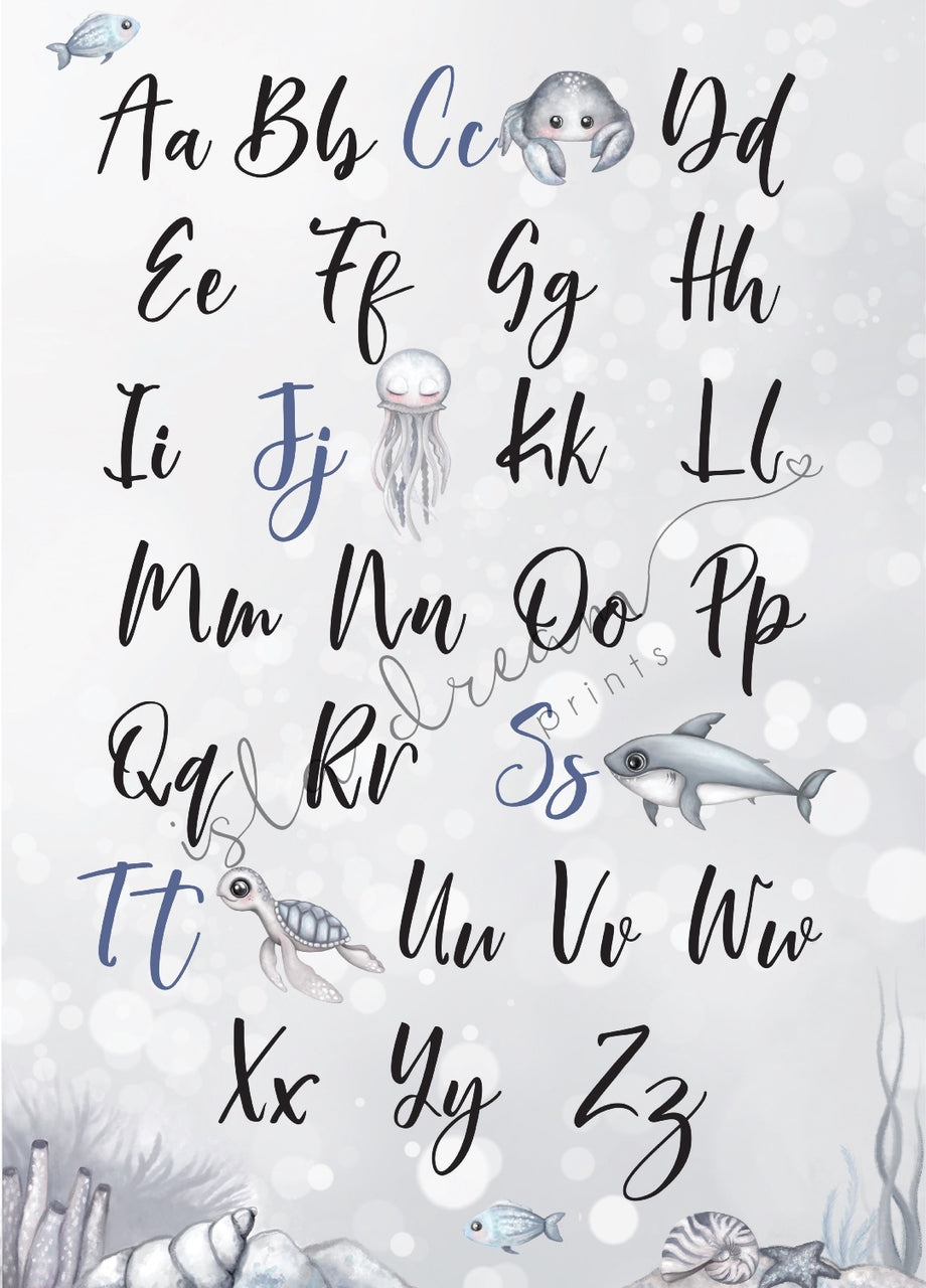 Nautical Alphabet poster- 50x70cm - Isla Dream Prints