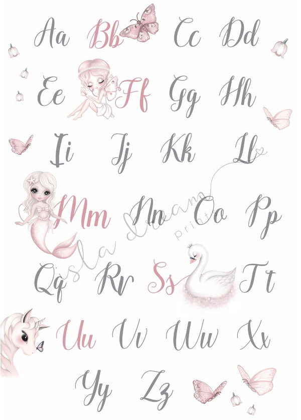 Whimsical alphabet poster - 50x70cm - Isla Dream Prints