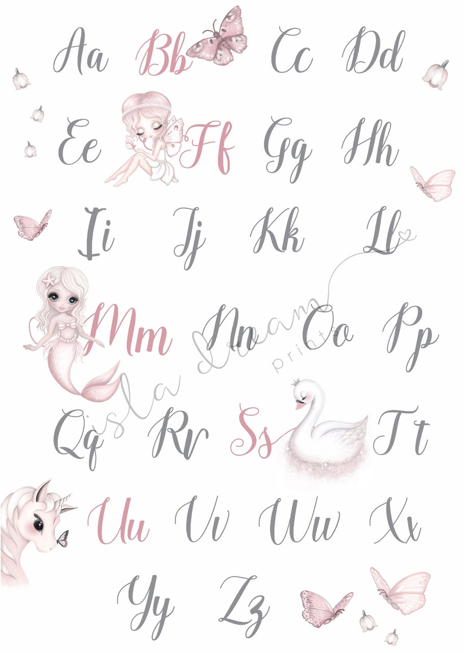 Whimsical Alphabet poster -50x70cm - Isla Dream Prints