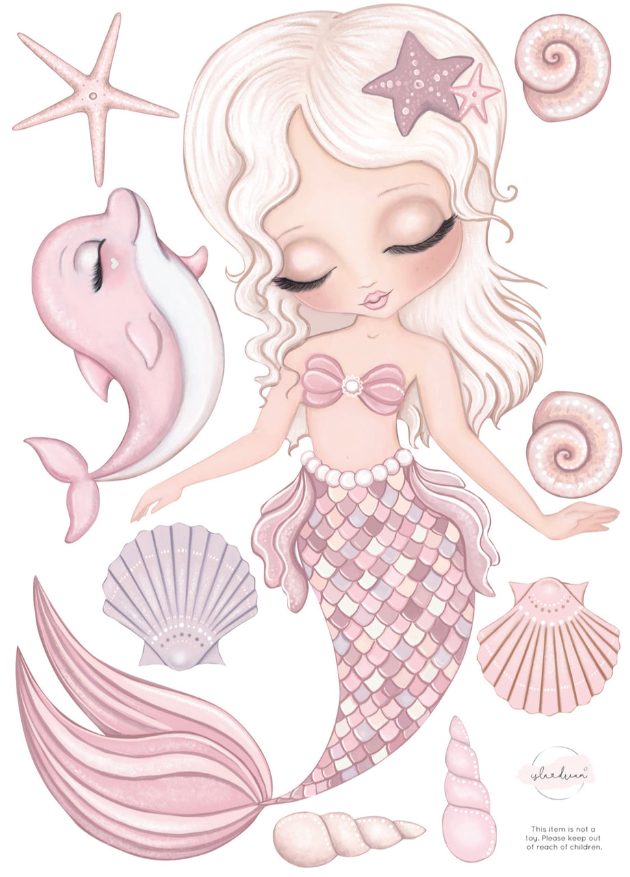 'Jasmine' mermaid - Fabric Wall Decals (various sizes available) - Isla Dream Prints