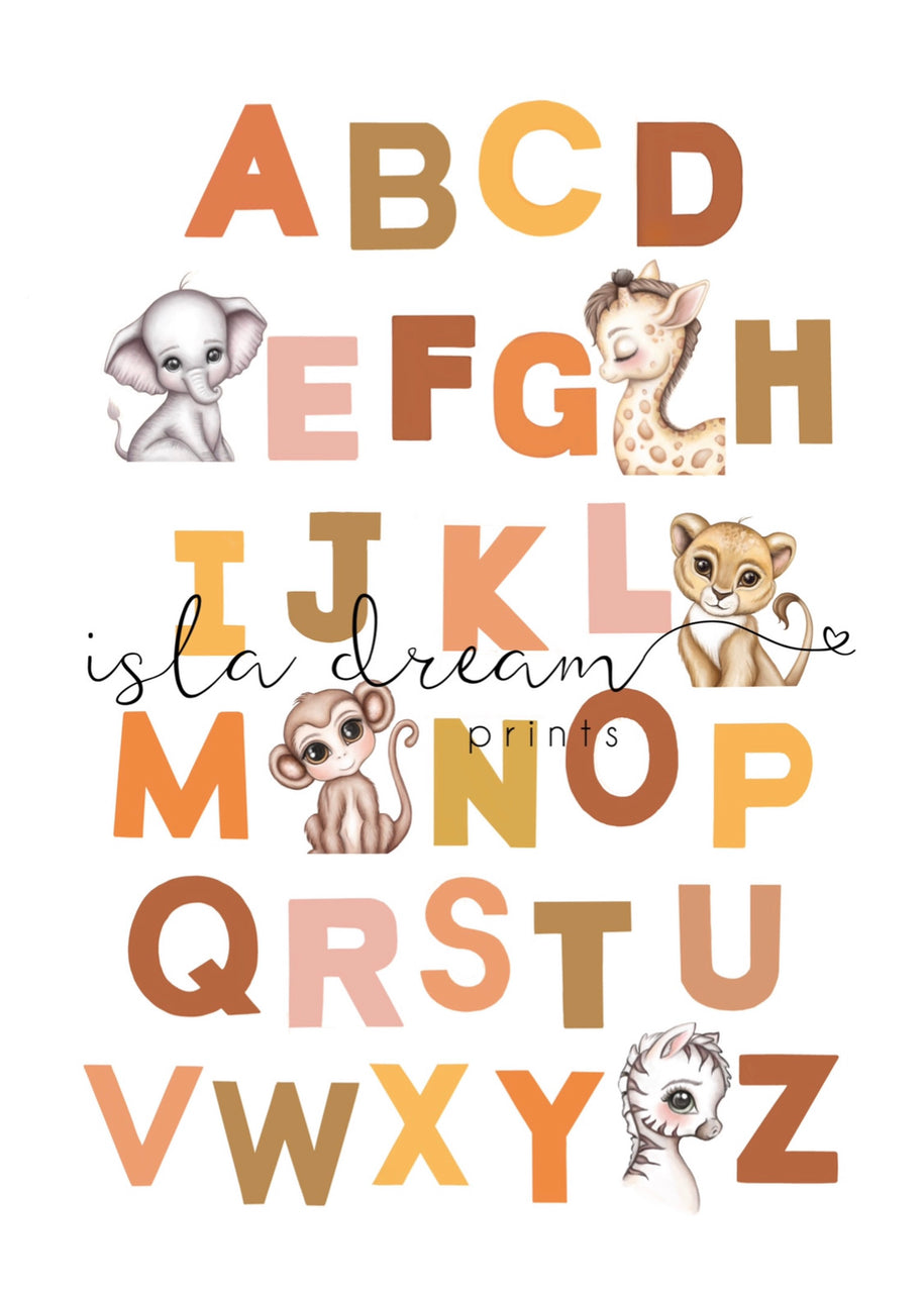 Jungle animal alphabet poster - Isla Dream Prints