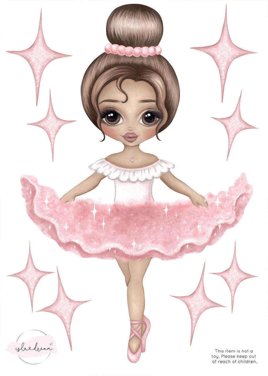 'Ariana the Ballerina' Fabric Wall Decals A4 - Isla Dream Prints