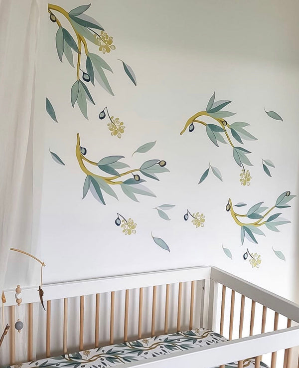 'Snowy River' gum leaves- Fabric Wall Decals - Isla Dream Prints