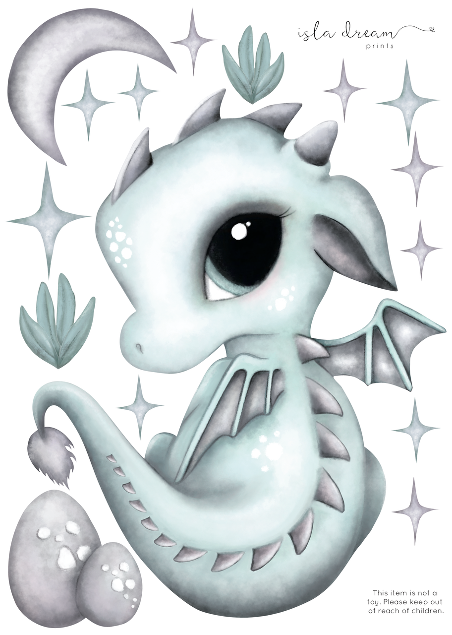 'Dex the Dragon' Fabric Wall Decals A4 - Isla Dream Prints