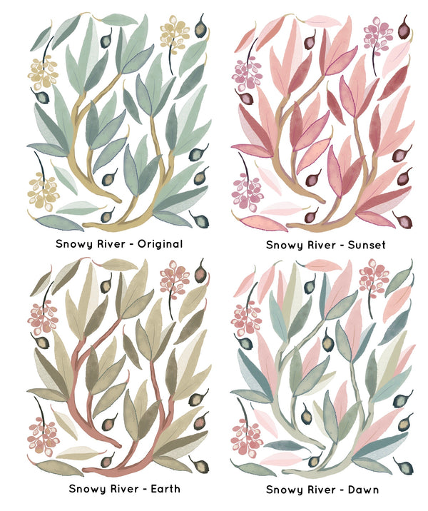 Snowy River gum leaves wall decals- multiple colour variations - Isla Dream Prints